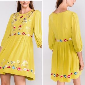 French Connection Yellow Saya Crepe Floral Dress
